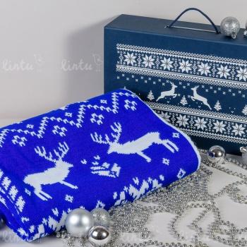 Синий скандинавский плед в наборе | Корпоративные наборы подарков | Новогодние корпоративные подарки оптом | Корпоративные подарки на 23 фе